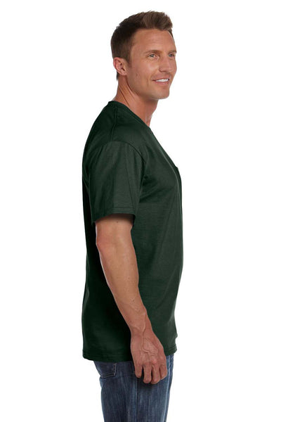 Fruit Of The Loom 3931P Mens HD Jersey Short Sleeve Crewneck T-Shirt w/ Pocket Forest Green Side