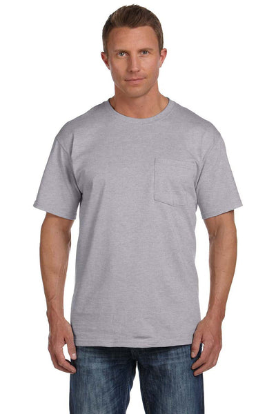 Fruit Of The Loom 3931P Mens HD Jersey Short Sleeve Crewneck T-Shirt w/ Pocket Heather Grey Front