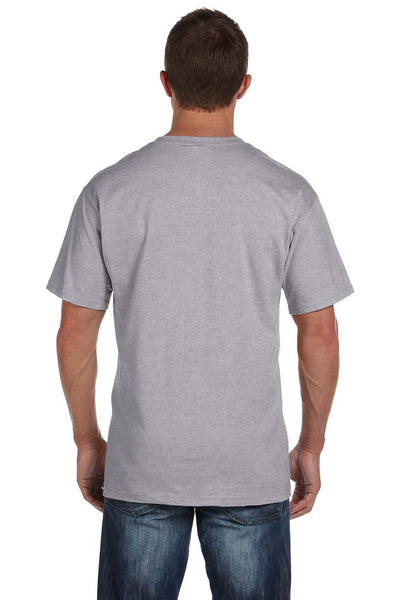 Fruit Of The Loom 3931P Mens HD Jersey Short Sleeve Crewneck T-Shirt w/ Pocket Heather Grey Back