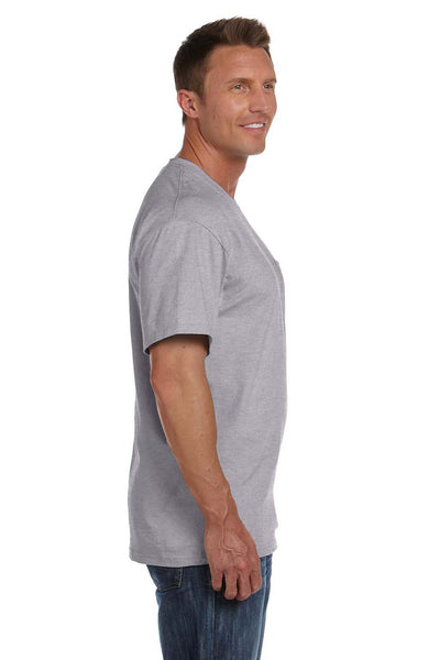 Fruit Of The Loom 3931P Mens HD Jersey Short Sleeve Crewneck T-Shirt w/ Pocket Heather Grey Side