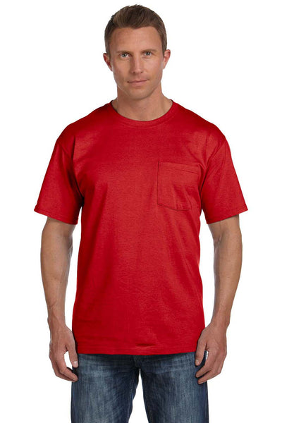 Fruit Of The Loom 3931P Mens HD Jersey Short Sleeve Crewneck T-Shirt w/ Pocket Red Front