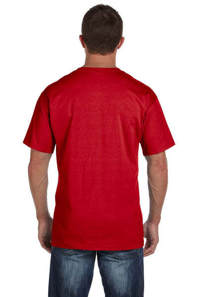 Fruit Of The Loom 3931P Mens HD Jersey Short Sleeve Crewneck T-Shirt w/ Pocket Red Back