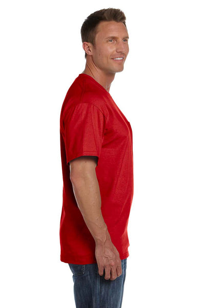 Fruit Of The Loom 3931P Mens HD Jersey Short Sleeve Crewneck T-Shirt w/ Pocket Red Side