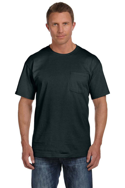 Fruit Of The Loom 3931P Mens HD Jersey Short Sleeve Crewneck T-Shirt w/ Pocket Black Front