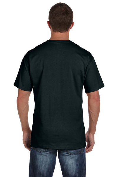Fruit Of The Loom 3931P Mens HD Jersey Short Sleeve Crewneck T-Shirt w/ Pocket Black Back
