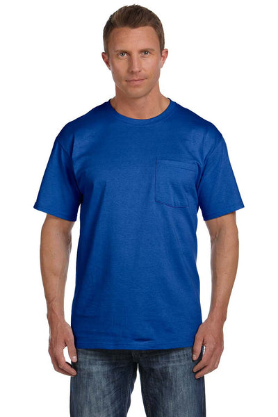 Fruit Of The Loom 3931P Mens HD Jersey Short Sleeve Crewneck T-Shirt w/ Pocket Royal Blue Front