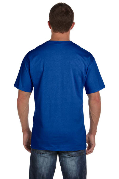 Fruit Of The Loom 3931P Mens HD Jersey Short Sleeve Crewneck T-Shirt w/ Pocket Royal Blue Back