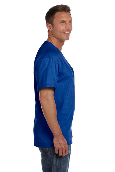 Fruit Of The Loom 3931P Mens HD Jersey Short Sleeve Crewneck T-Shirt w/ Pocket Royal Blue Side