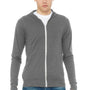 Bella + Canvas Mens Grey Full Zip Long Sleeve Hooded T-Shirt Hoodie