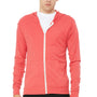 Bella + Canvas Mens Red Full Zip Long Sleeve Hooded T-Shirt Hoodie