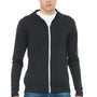 Bella + Canvas Mens Charcoal Black Full Zip Long Sleeve Hooded T-Shirt Hoodie