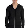 Bella + Canvas Mens Black Full Zip Long Sleeve Hooded T-Shirt Hoodie