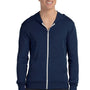 Bella + Canvas Mens Navy Blue Full Zip Long Sleeve Hooded T-Shirt Hoodie