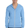 Bella + Canvas Mens Blue Full Zip Long Sleeve Hooded T-Shirt Hoodie