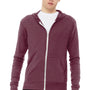 Bella + Canvas Mens Maroon Full Zip Long Sleeve Hooded T-Shirt Hoodie