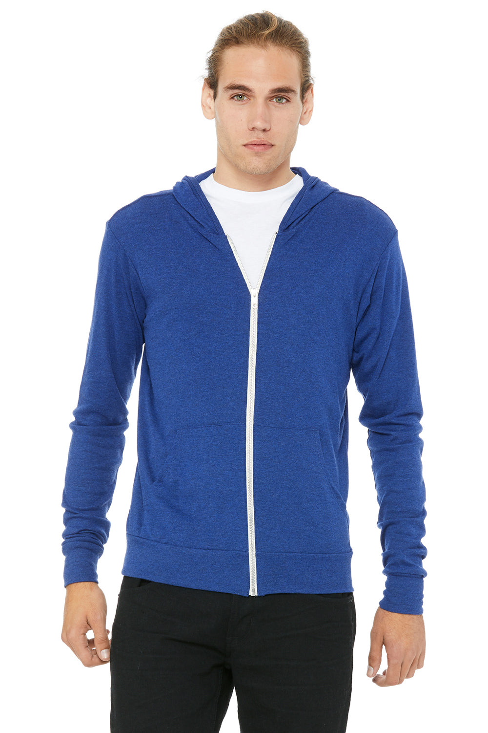 Bella + Canvas 3939 Mens Full Zip Long Sleeve Hooded T-Shirt Hoodie Royal Blue Front