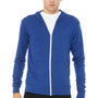 Bella + Canvas Mens True Royal Blue Full Zip Long Sleeve Hooded T-Shirt Hoodie