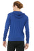 Bella + Canvas 3939 Mens Full Zip Long Sleeve Hooded T-Shirt Hoodie Royal Blue Back