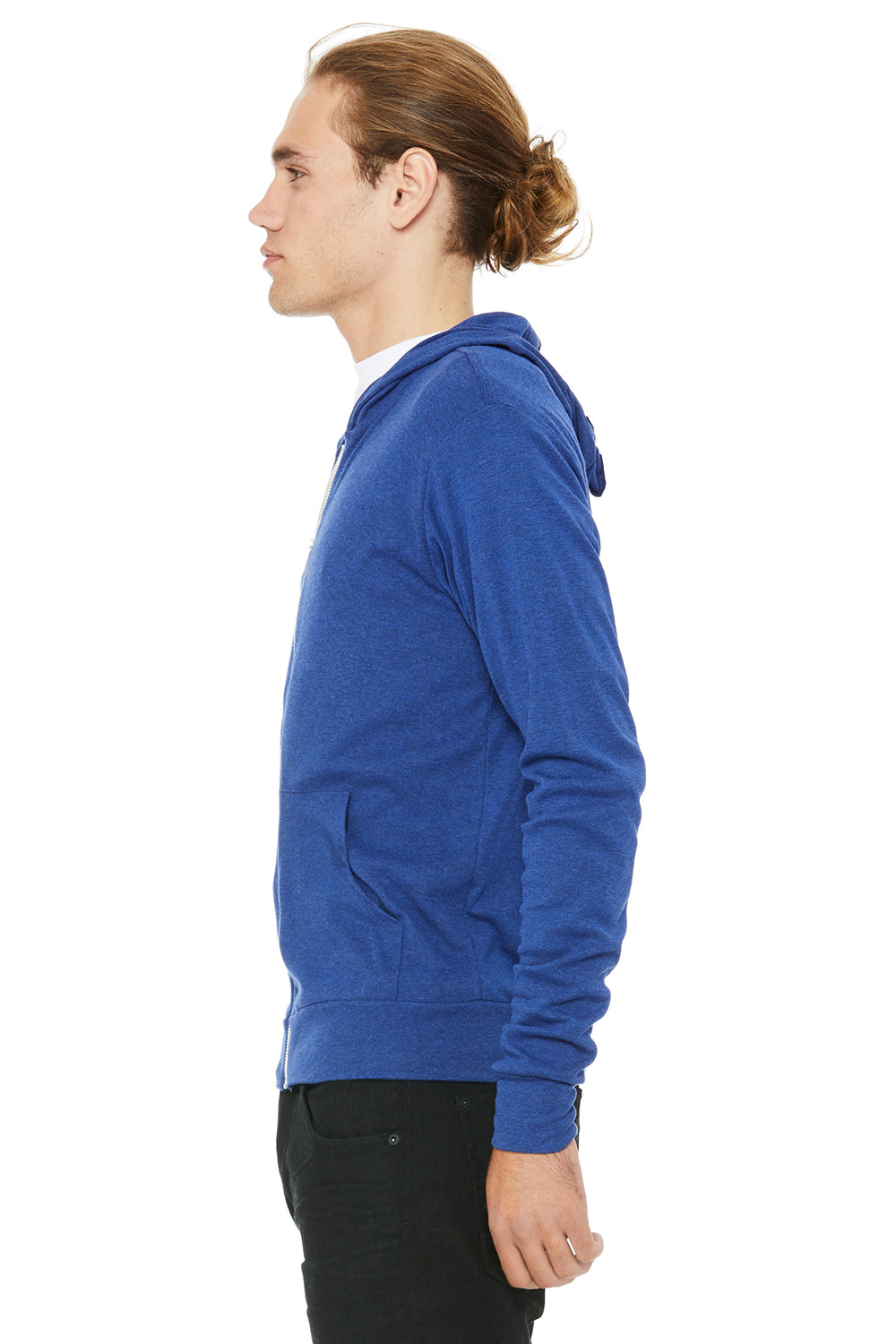 Bella + Canvas 3939 Mens Full Zip Long Sleeve Hooded T-Shirt Hoodie Royal Blue Side