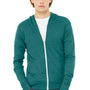 Bella + Canvas Mens Teal Green Full Zip Long Sleeve Hooded T-Shirt Hoodie