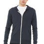Bella + Canvas Mens Solid Dark Grey Full Zip Long Sleeve Hooded T-Shirt Hoodie