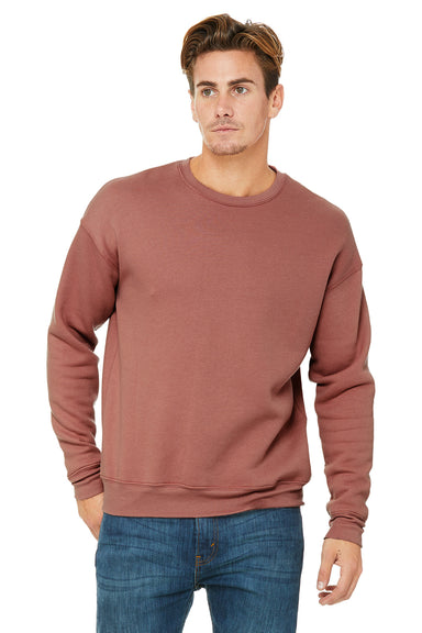 Bella + Canvas 3945 Mens Fleece Crewneck Sweatshirt Mauve Front