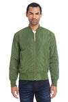 Threadfast Apparel 395J Mens Bomber Full Zip Jacket Army Green Front