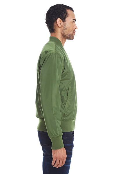 Threadfast Apparel 395J Mens Bomber Full Zip Jacket Army Green Side