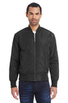 Threadfast Apparel 395J Mens Bomber Full Zip Jacket Black Front