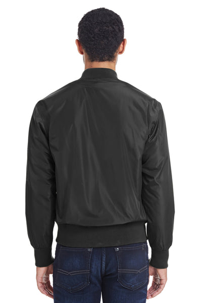 Threadfast Apparel 395J Mens Bomber Full Zip Jacket Black Back