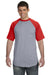 Augusta Sportswear 423 Mens Short Sleeve Crewneck T-Shirt Heather Grey/Red Front