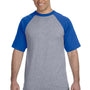 Augusta Sportswear Mens Heather Grey/Royal Blue Short Sleeve Crewneck T-Shirt