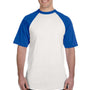 Augusta Sportswear Mens White/Royal Blue Short Sleeve Crewneck T-Shirt
