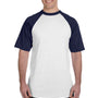 Augusta Sportswear Mens White/Navy Blue Short Sleeve Crewneck T-Shirt
