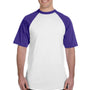 Augusta Sportswear Mens White/Purple Short Sleeve Crewneck T-Shirt