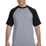 Augusta Sportswear Mens Heather Grey/Black Short Sleeve Crewneck T-Shirt