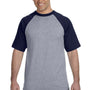 Augusta Sportswear Mens Heather Grey/Navy Blue Short Sleeve Crewneck T-Shirt