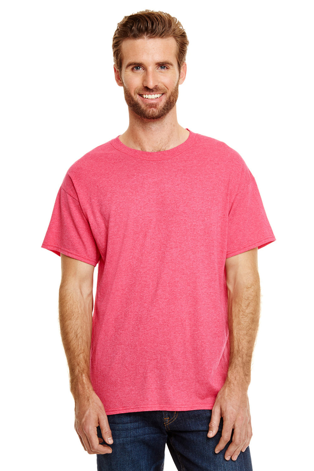 Hanes 42TB Mens X-Temp FreshIQ Moisture Wicking Short Sleeve Crewneck T-Shirt Red Front