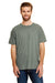 Hanes 42TB Mens X-Temp FreshIQ Moisture Wicking Short Sleeve Crewneck T-Shirt Military Green Front
