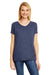 Hanes 42VT Womens X-Temp FreshIQ Moisture Wicking Short Sleeve V-Neck T-Shirt Navy Blue Front