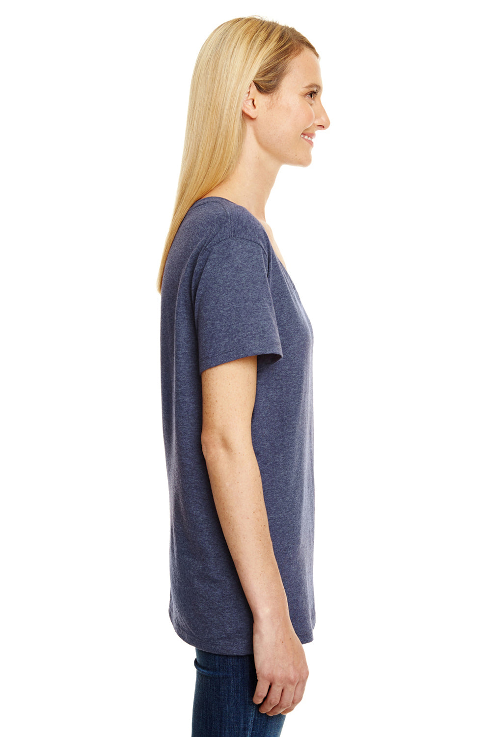 Hanes 42VT Womens X-Temp FreshIQ Moisture Wicking Short Sleeve V-Neck T-Shirt Navy Blue Side