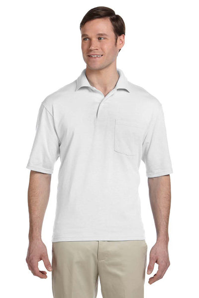 Jerzees 436P Mens SpotShield Stain Resistant Short Sleeve Polo Shirt w/ Pocket White Front