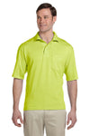 Jerzees 436P Mens SpotShield Stain Resistant Short Sleeve Polo Shirt w/ Pocket Safety Green Front