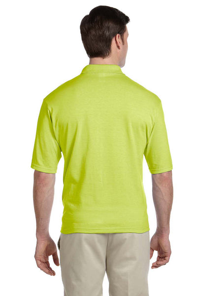 Jerzees 436P Mens SpotShield Stain Resistant Short Sleeve Polo Shirt w/ Pocket Safety Green Back