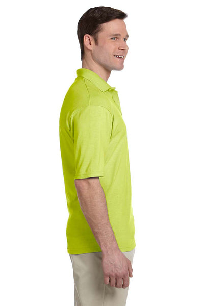 Jerzees 436P Mens SpotShield Stain Resistant Short Sleeve Polo Shirt w/ Pocket Safety Green Side