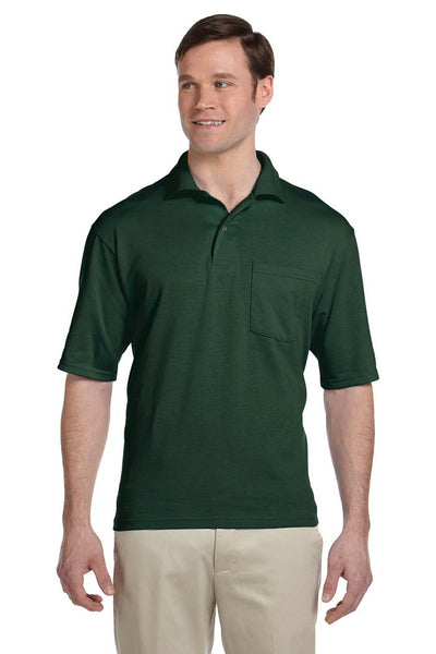 Jerzees 436P Mens SpotShield Stain Resistant Short Sleeve Polo Shirt w/ Pocket Forest Green Front