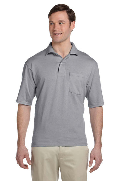 Jerzees 436P Mens SpotShield Stain Resistant Short Sleeve Polo Shirt w/ Pocket Oxford Grey Front