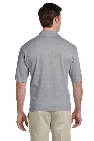 Jerzees 436P Mens SpotShield Stain Resistant Short Sleeve Polo Shirt w/ Pocket Oxford Grey Back