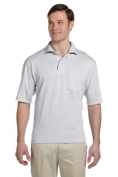 Jerzees 436P Mens SpotShield Stain Resistant Short Sleeve Polo Shirt w/ Pocket Ash Grey Front