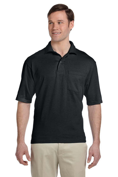 Jerzees 436P Mens SpotShield Stain Resistant Short Sleeve Polo Shirt w/ Pocket Black Front
